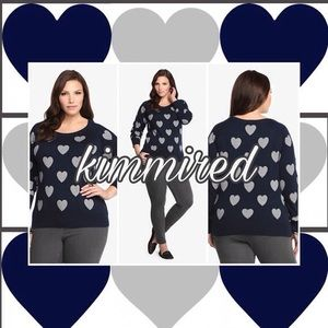 Torrid Navy Blue/Grey Heart Sweater ~ 4/4X ~ EUC